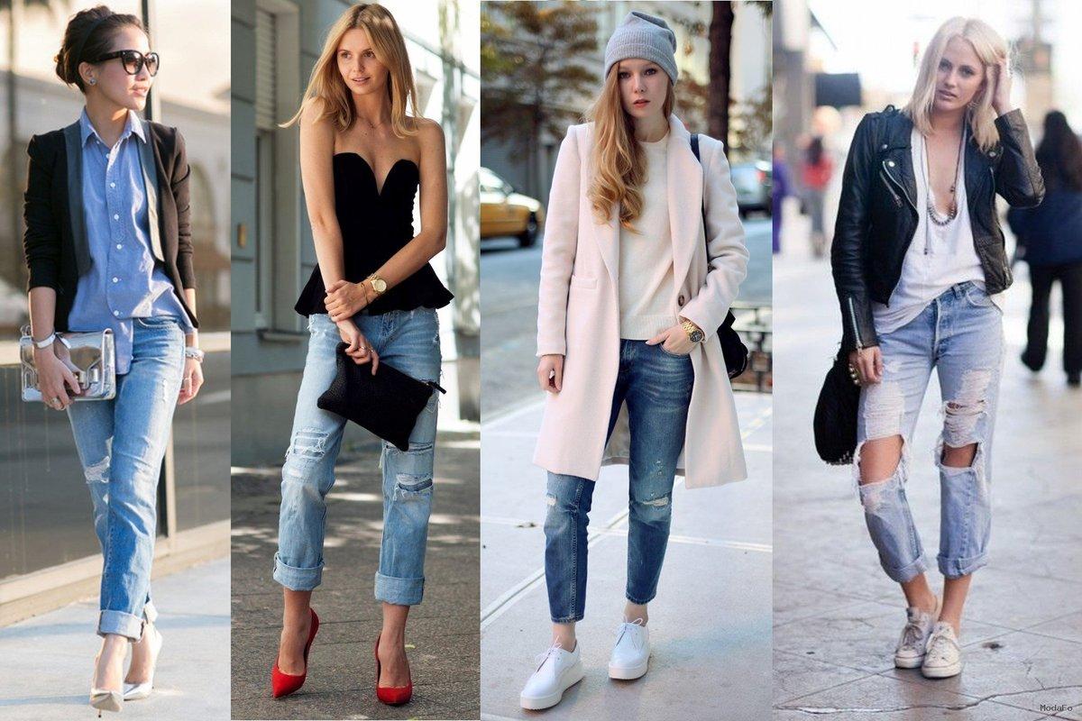 Повседневные образы девушек с джинсами-бойфрендами