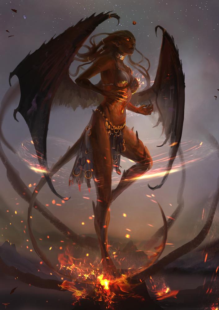 Картинка девушка и демоны