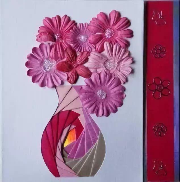 Открытка из бумаги вазу