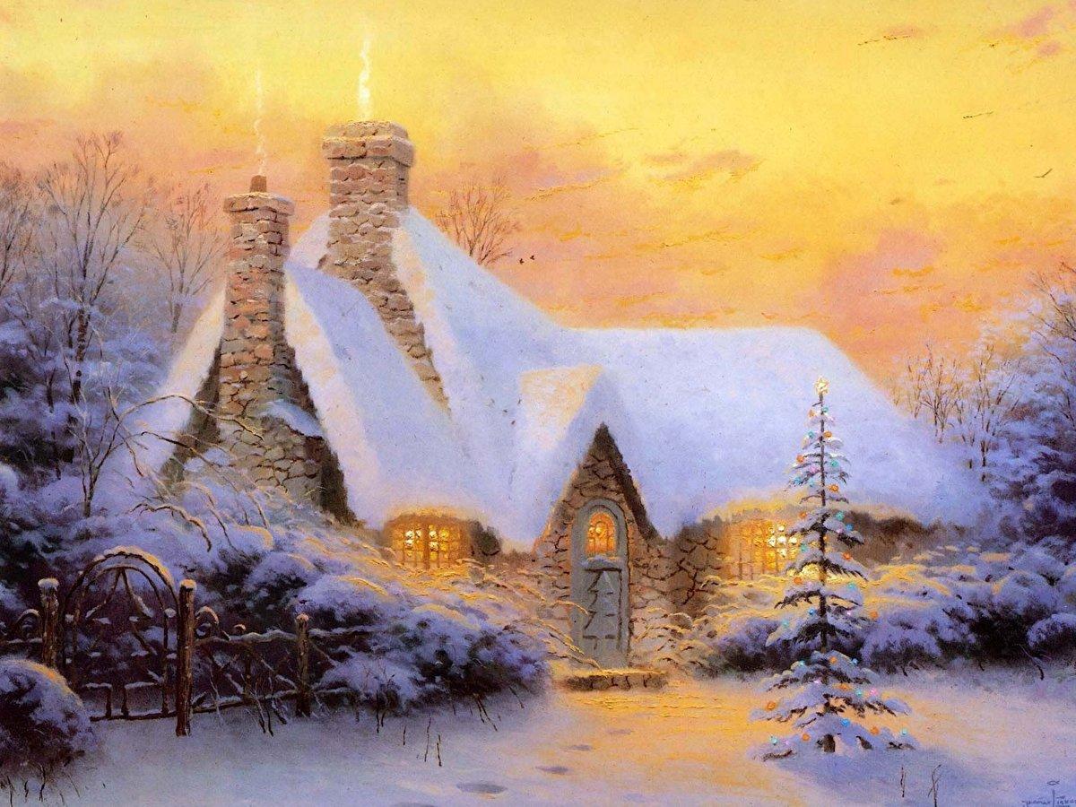 Фотографии Thomas Kinkade christmas tree cottage картина 128\