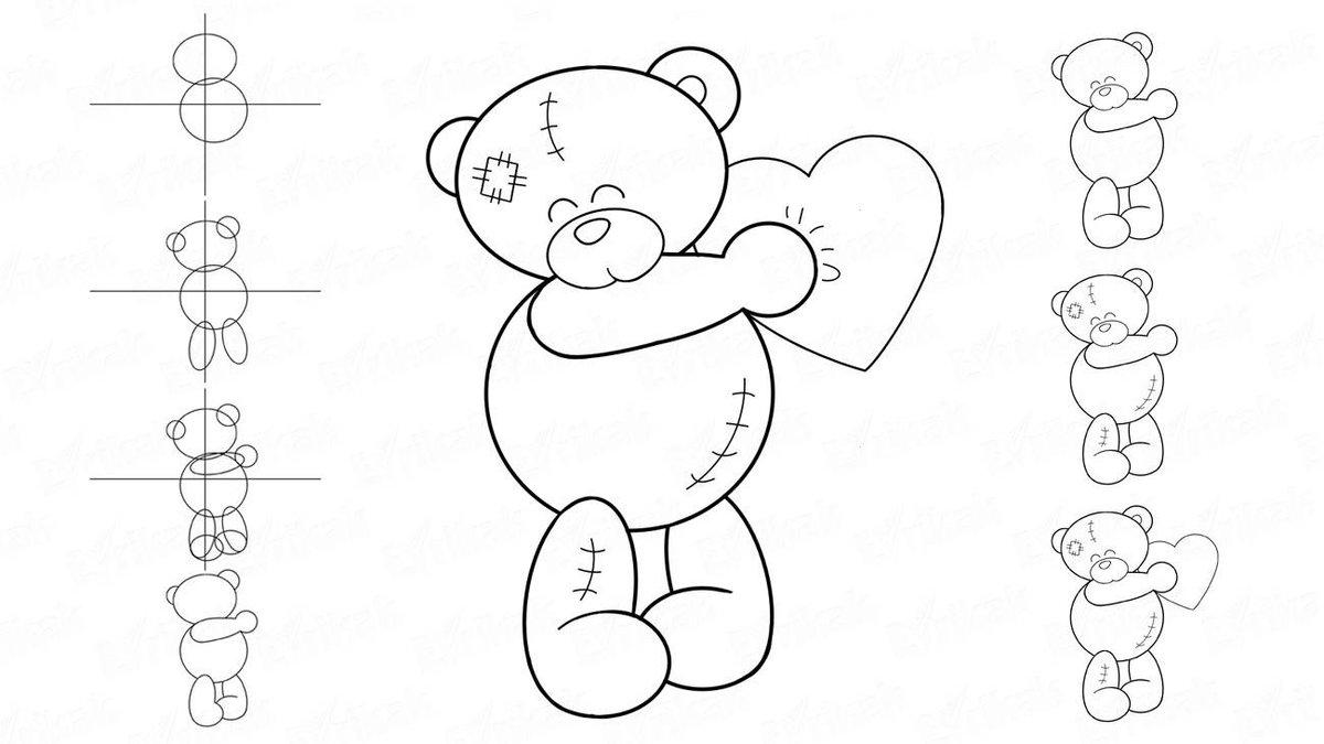Как нарисовать мишку тедди открыткой