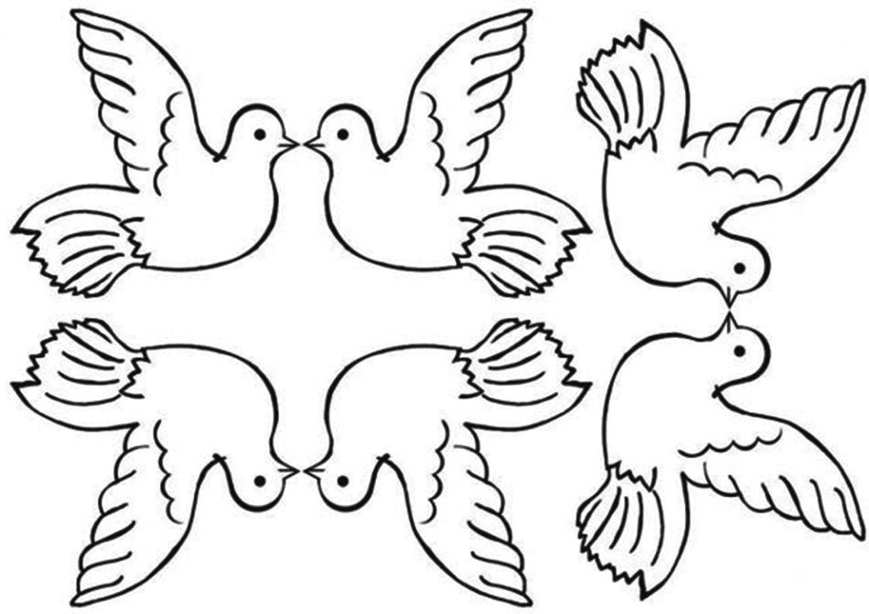 Доброго дня, шаблон открытки с голубями