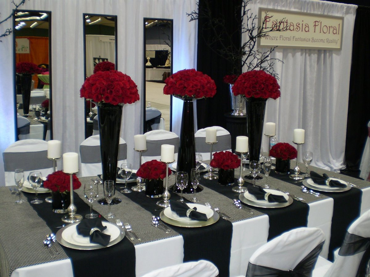 Red and black wedding table decoration image detail for red black ...