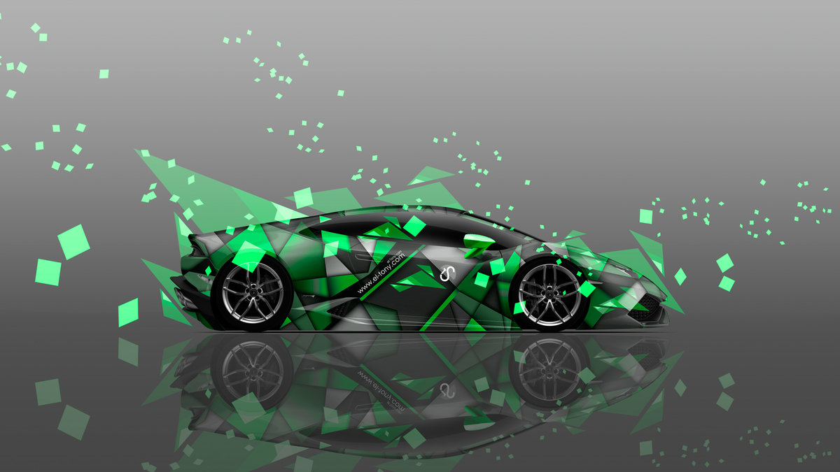Lamborghini Huracan Side Abstract Aerography Car 2014 Green Colors ...
