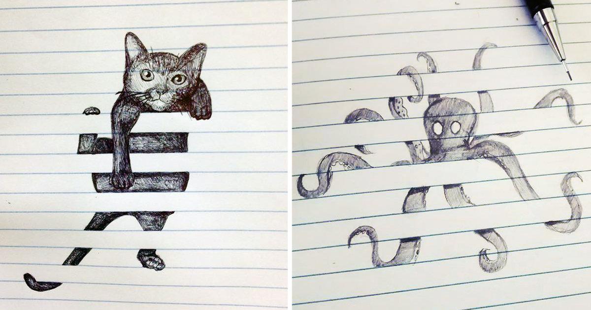 Рисунки в тетради карандашом прикольные