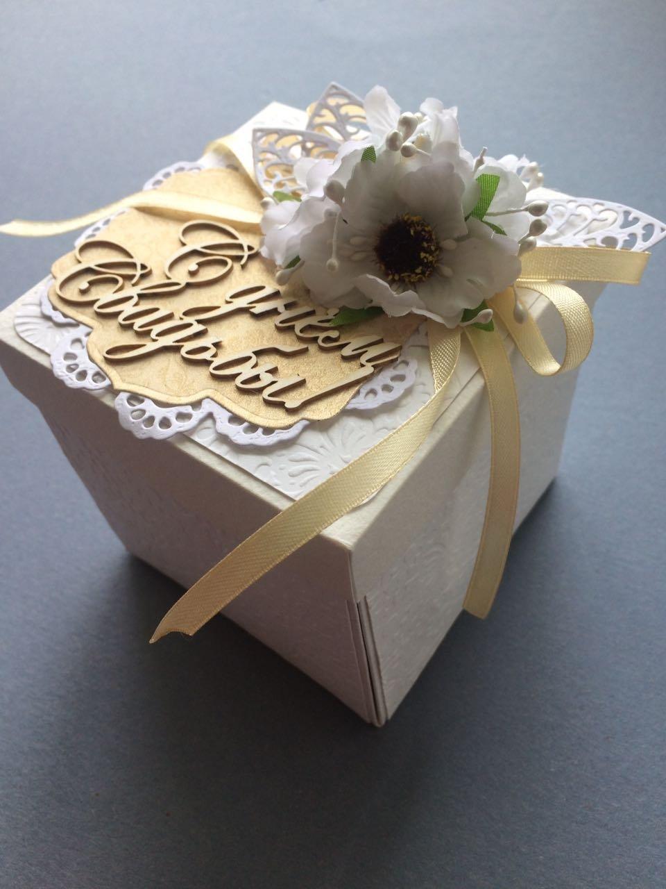 Коробочка открытка на свадьбу скрапбукинг, днем