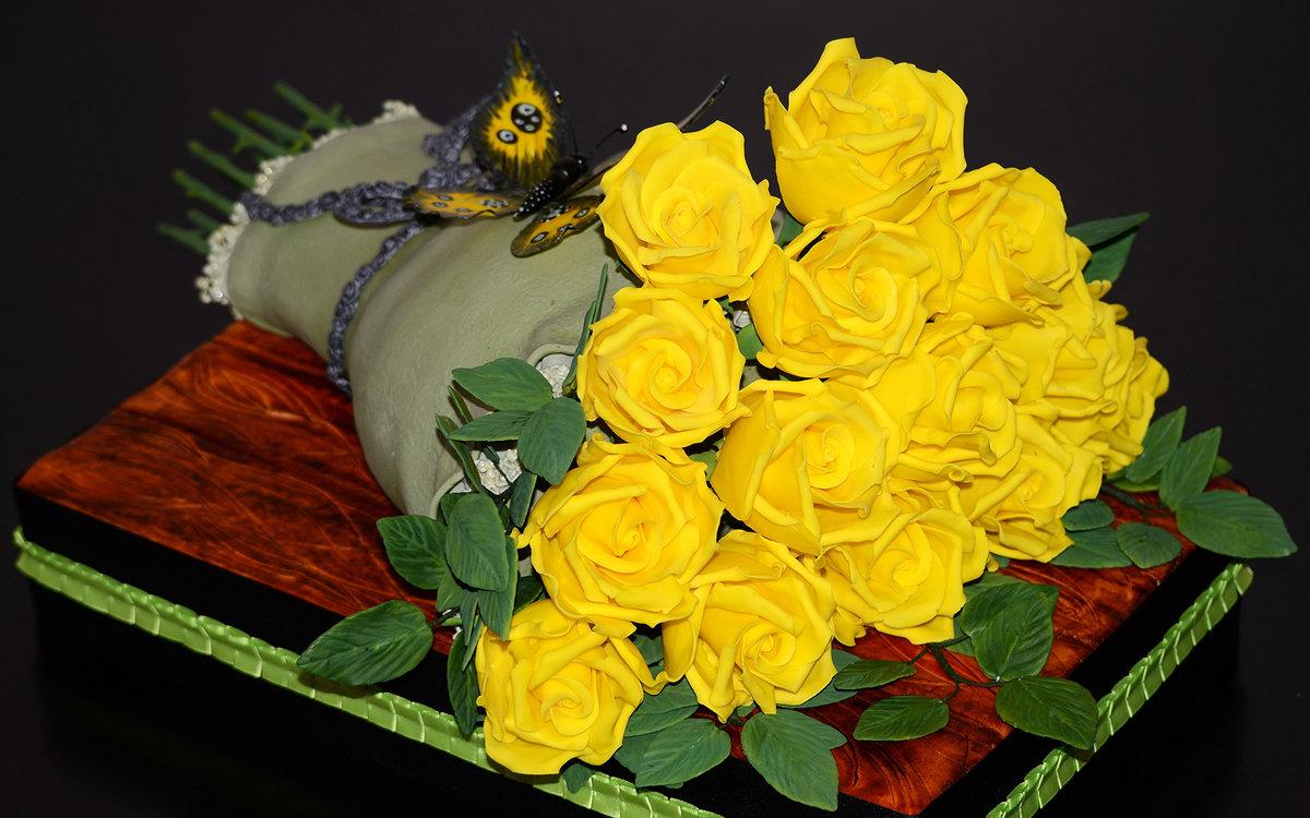 Открытки с букетами желтых роз, для