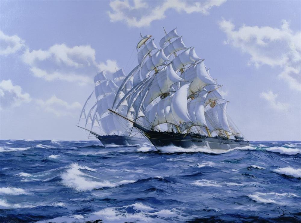 Открытка с кораблем и парусами, смешные над