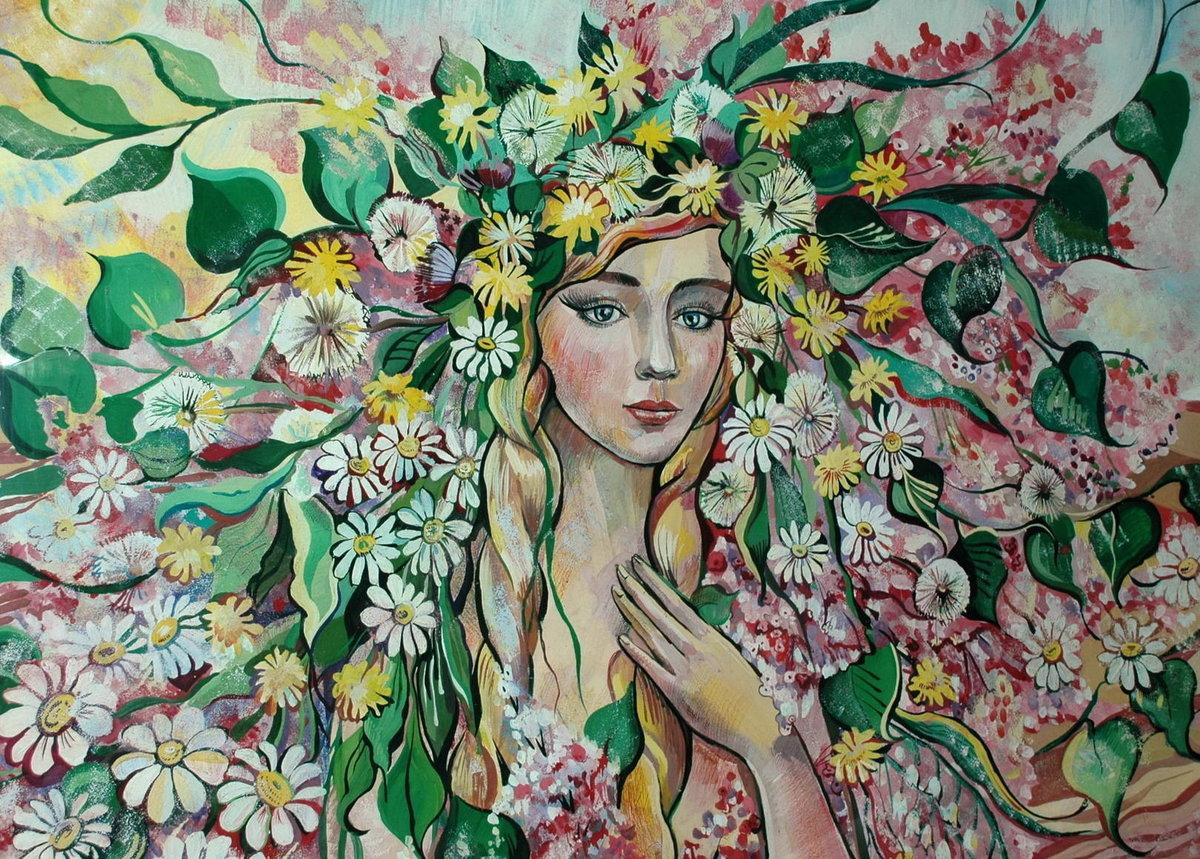 Картинки девушка весна нарисованные, маме день рождения