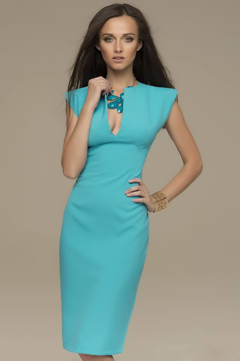 бирюзовое платье футляр фото есть один способ