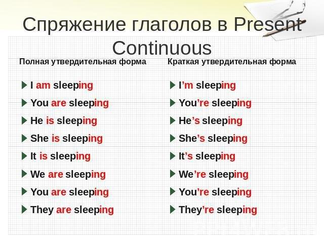 Времена Present Simple и Present Continuous правила и