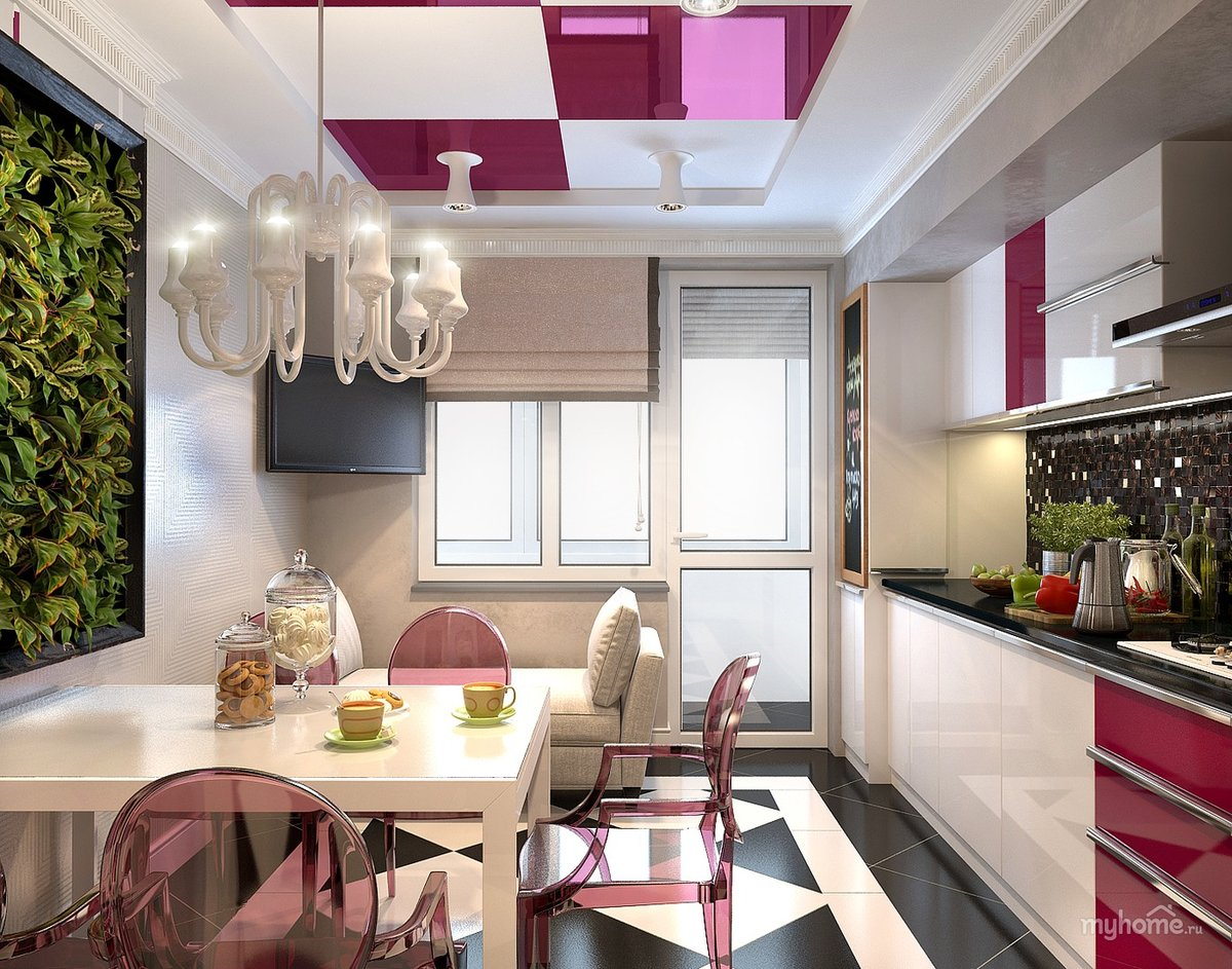 фото кухни прямоугольной с балконом интересных магазинов