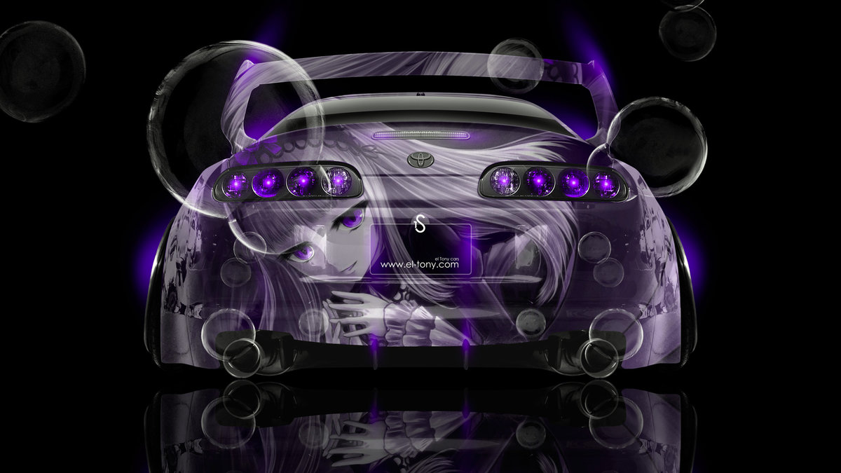 Toyota Supra JDM Back Anime Girl Aerography Car