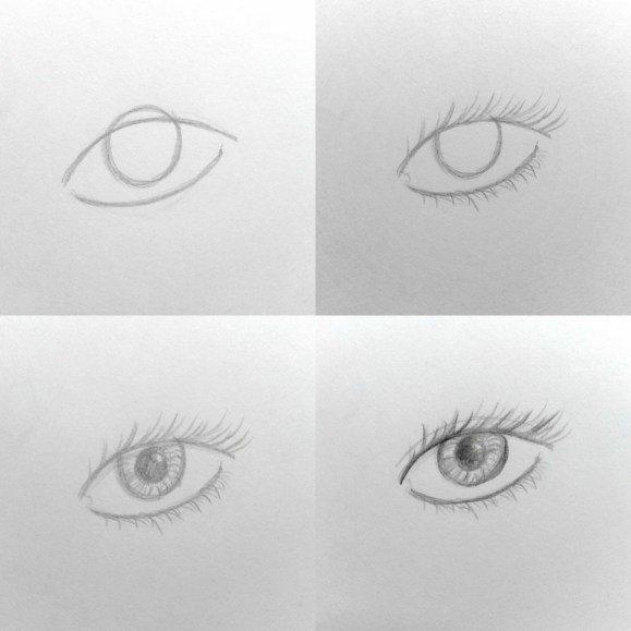 Картинки как легко нарисовать глаз