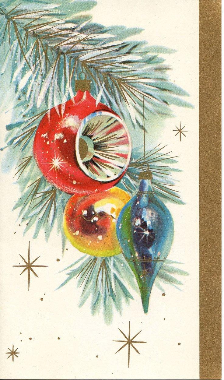 Новогодние открытки с елкой игрушками