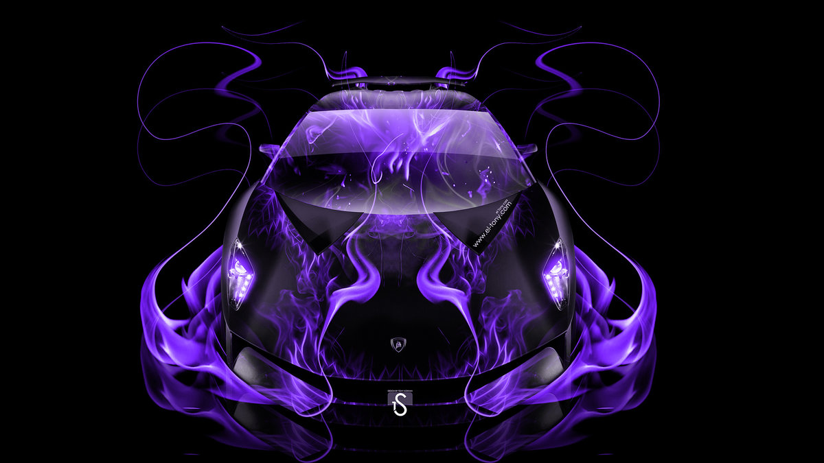 Lamborghini Sesto Elemento Violet Fire Abstract Car 2014