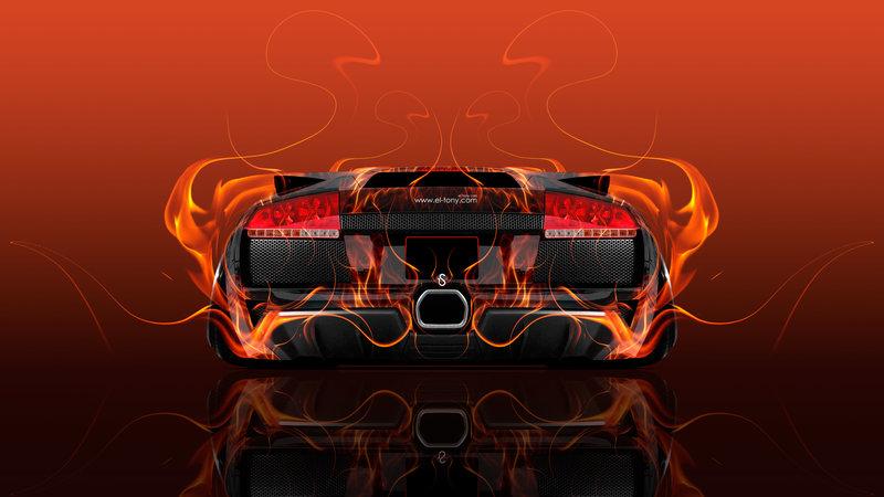 Lamborghini Murcielago Back Fire Abstract Car 2016 Red
