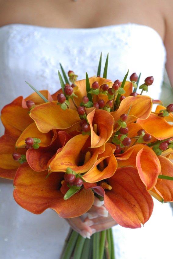 Свадебный букет из оранжевых каллы цена киев, цветов курьером