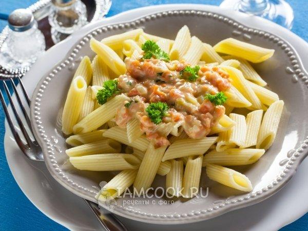 рецепт пенне с лососем в сливочном соусе