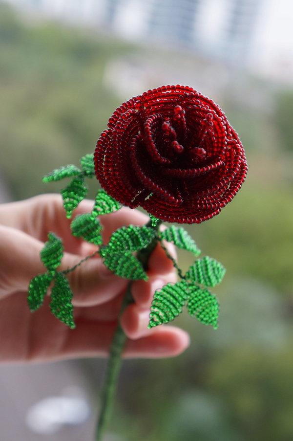 Картинки роз из бисера