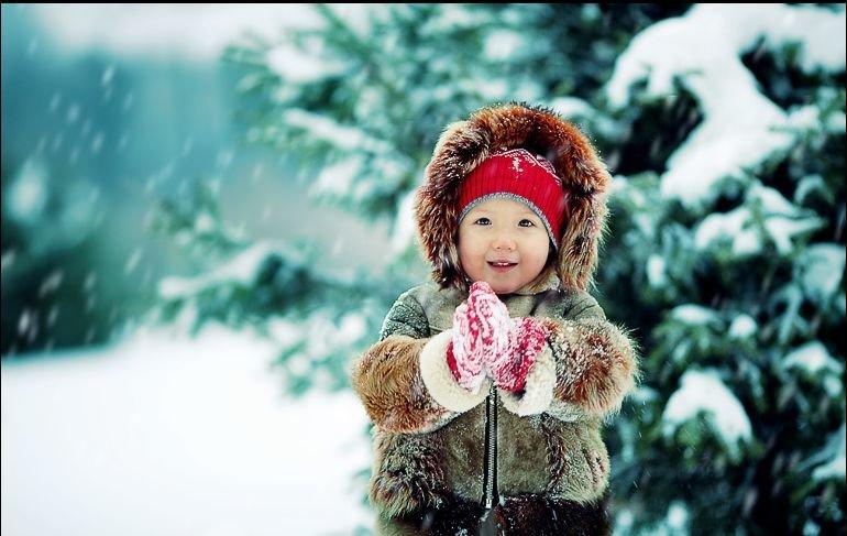 Картинки дети зимой красивые, утро