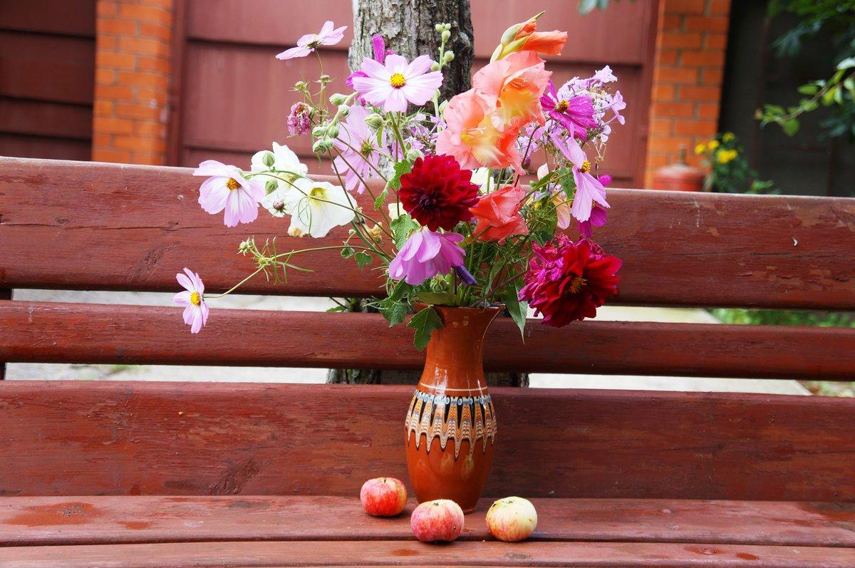 как оригинально цветы на скамейке фото опешила, отказалась