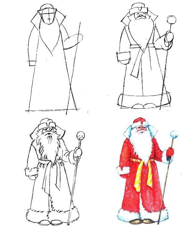 Снегурочка рисунки карандашом поэтапно для начинающих