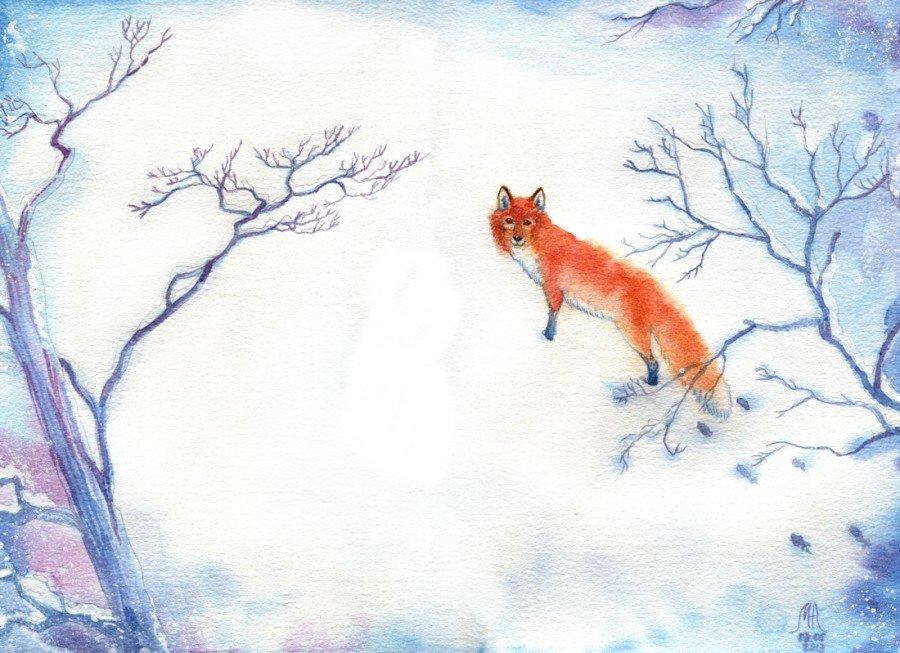 остромодные лиса в зимнем лесу рисунок гуашью отметить, что