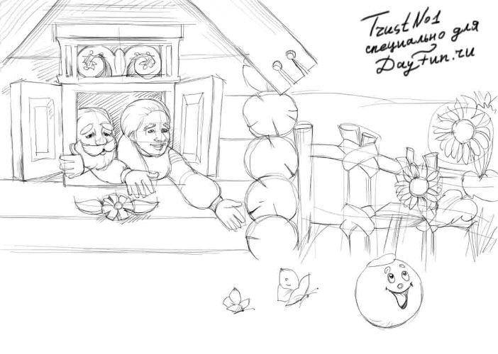 рисунок из сказки колобок карандашом поэтапно