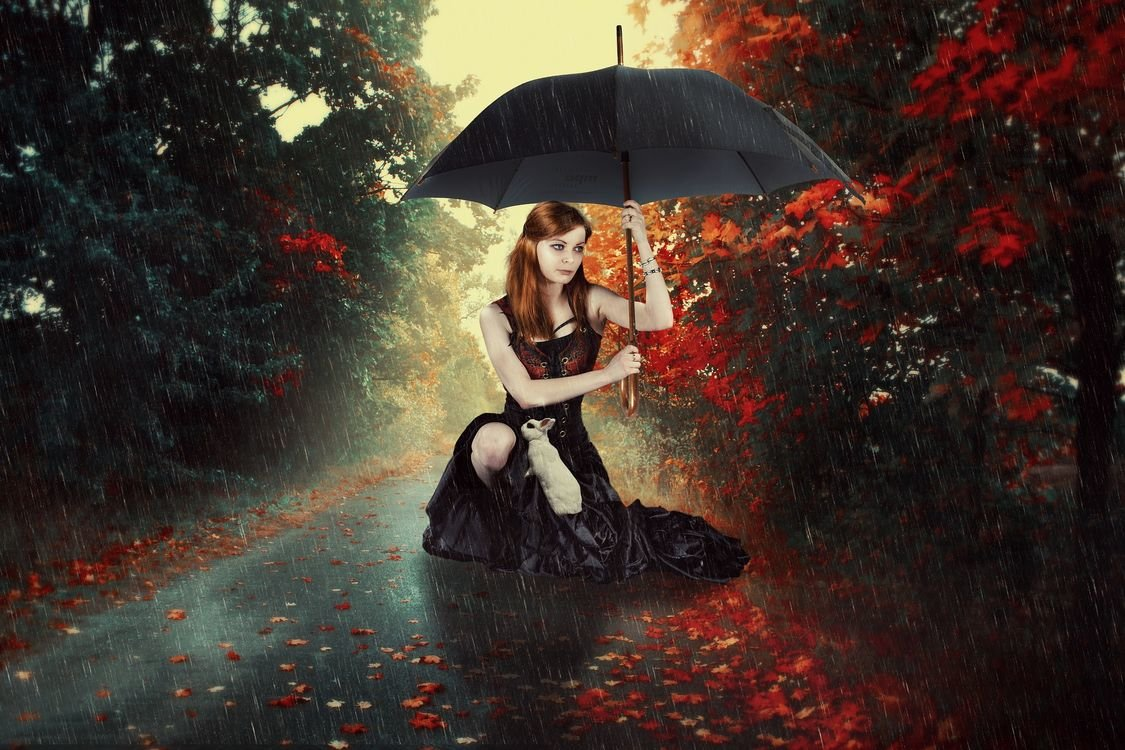 Флэшбэк, девушка под зонтом картинки