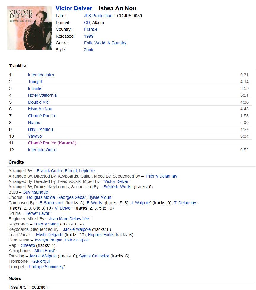 Victor Delver - Istwa An Nou (CD, Album) at Discogs S1200