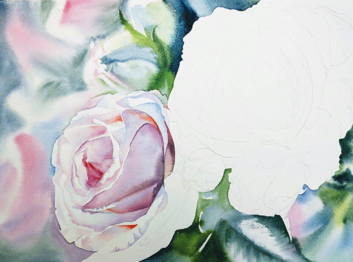 нарисовать розу акварелью фото районный