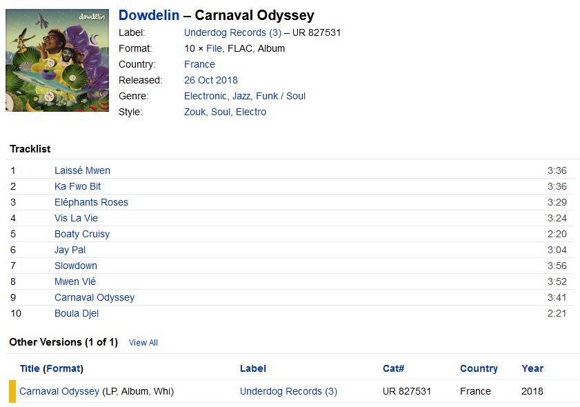 Dowdelin - Carnaval Odyssey (File, France, 2018)   Discogs S1200