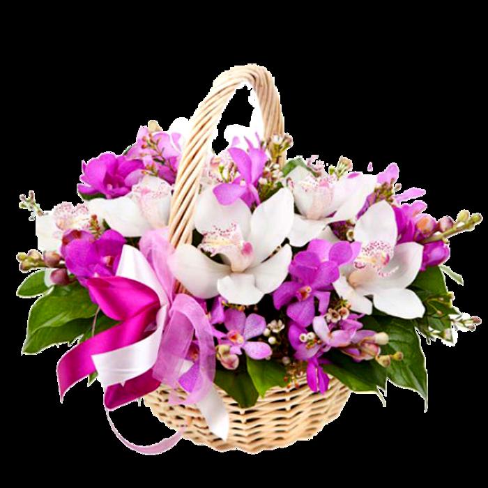 Роз 699, букет корзина орхидей фото