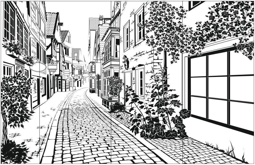 Картинки нарисованный город черно белый