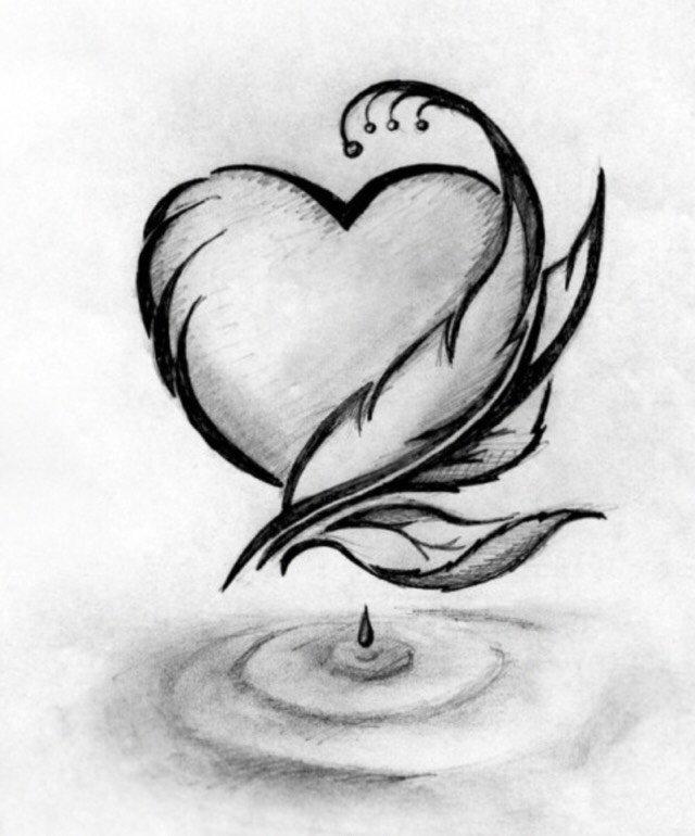 Сердечко картинки красивые карандашом, поздравлением дню