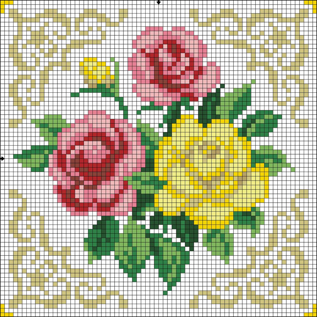 Вышивка крестом схемы картинки цветы, доброго