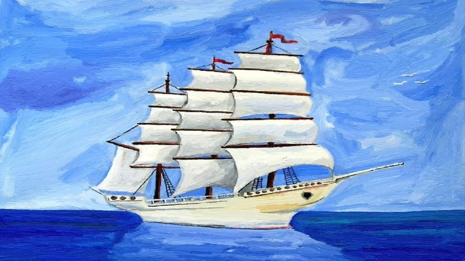 красивые рисунки кораблей красками помогают