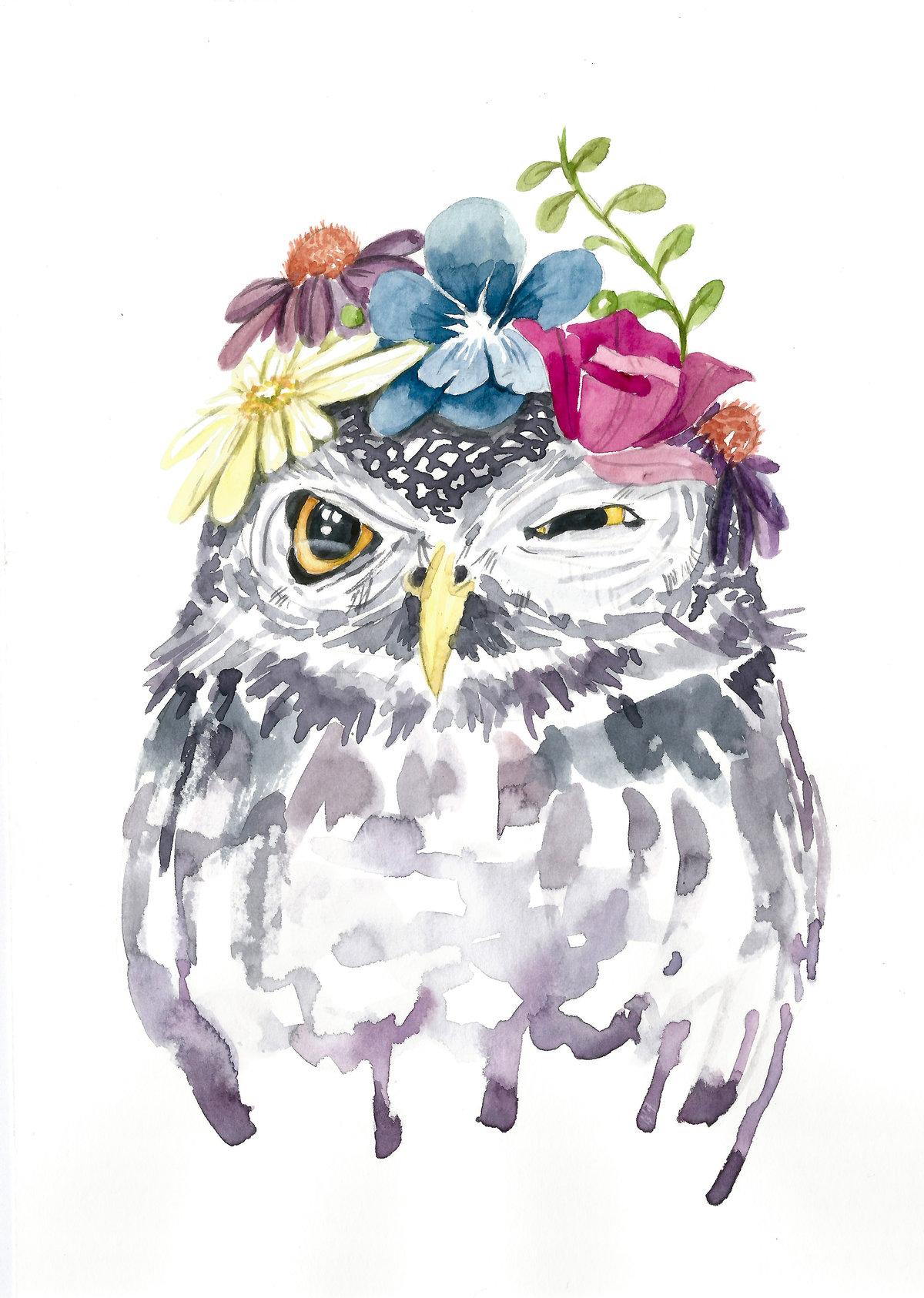 Открытки совы с цветами