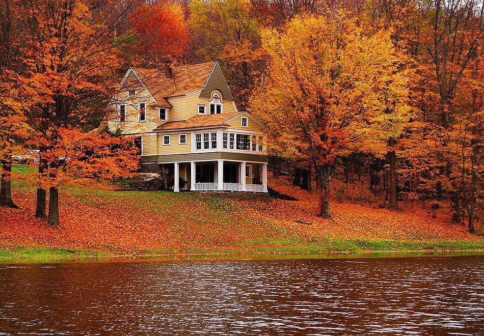 картинки осень на загородном доме картинку раскрасьте