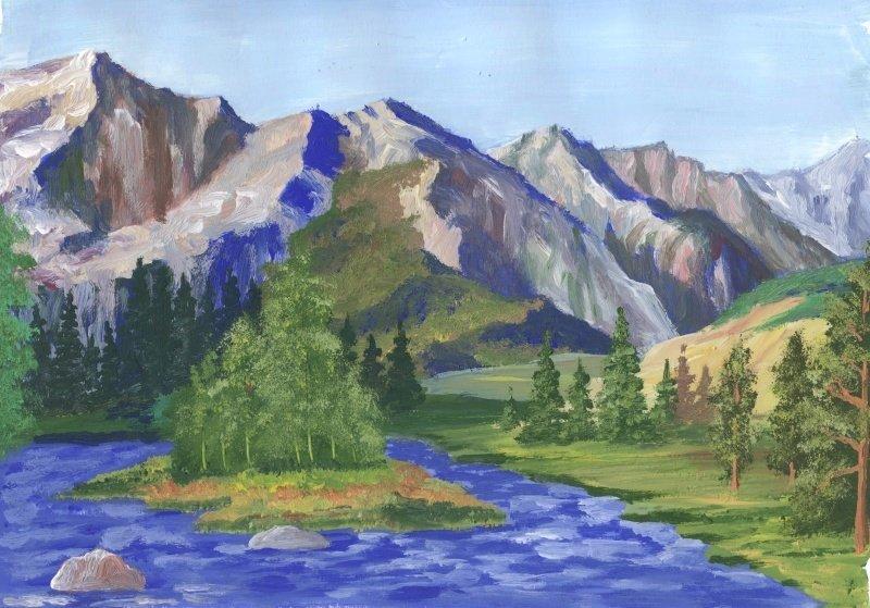 Парамв, картинка гуашью гора с рекой