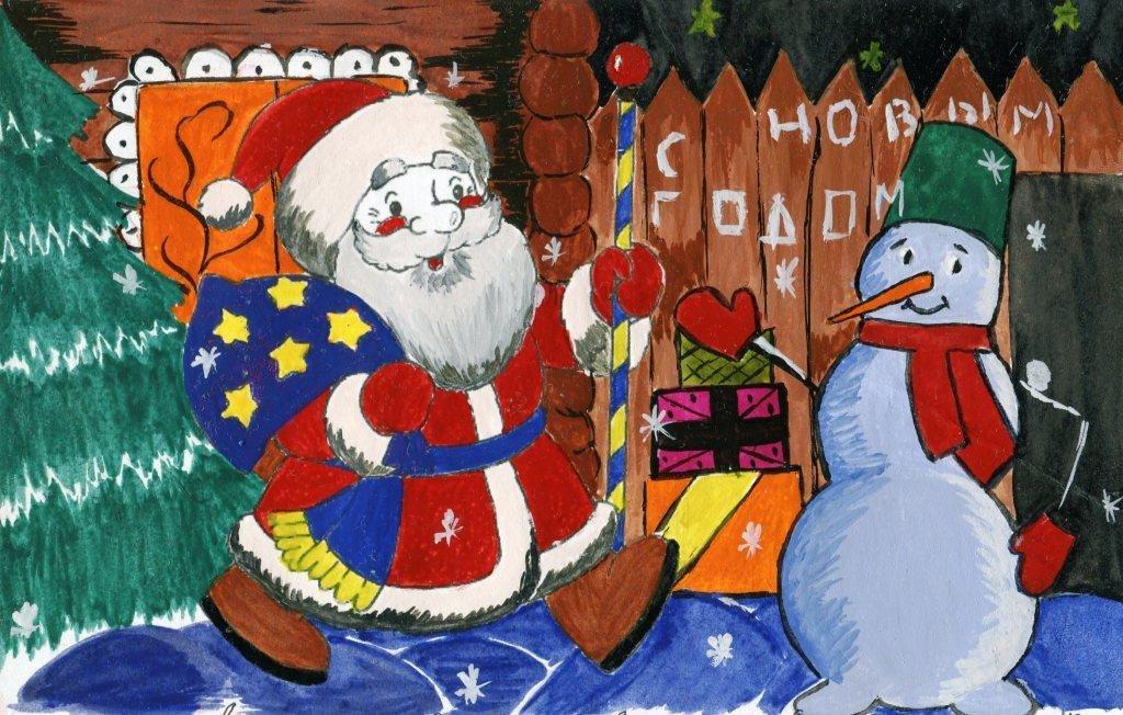 Картинки дед мороз рисунки детей