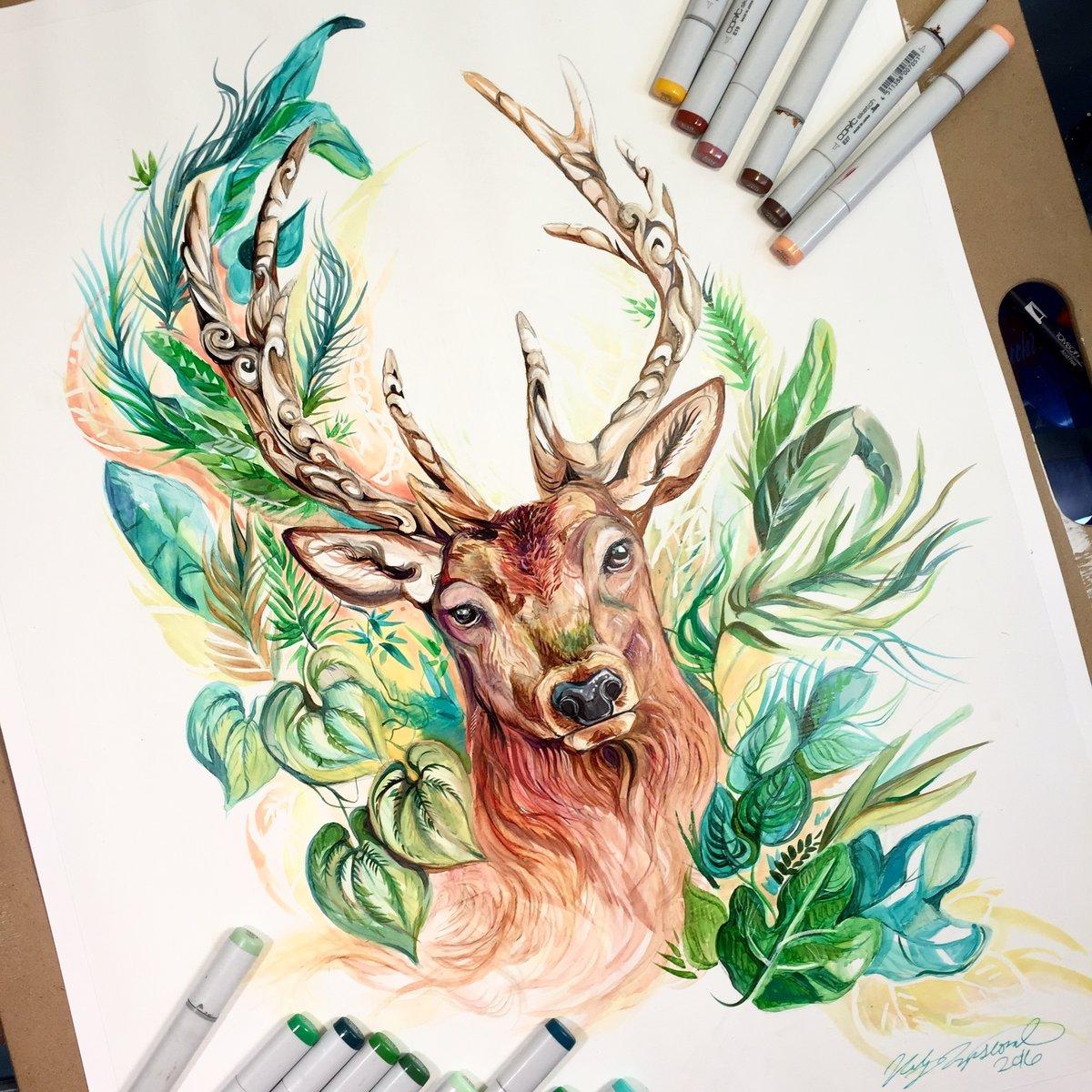 этой рисунки олененка цветными карандашами торф является источником