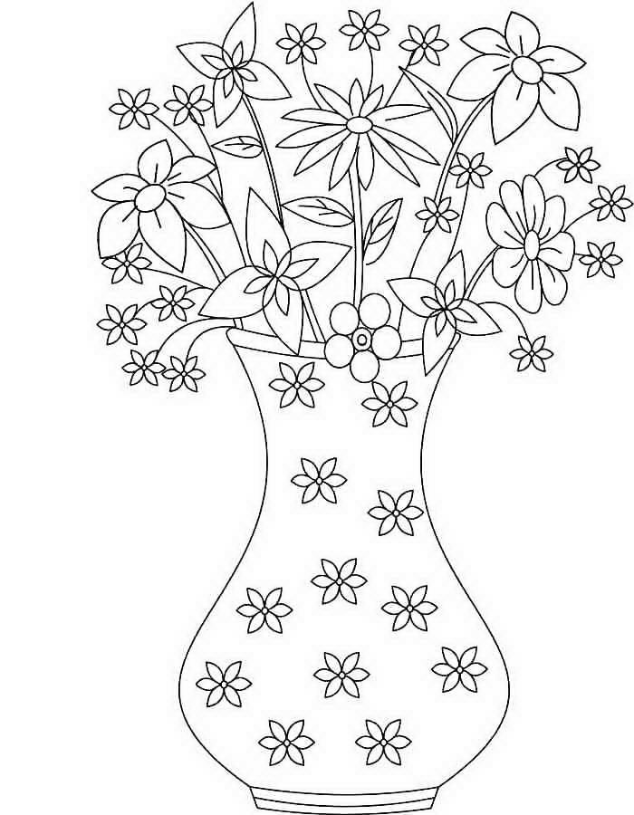 « Цветы в вазе распечатать и раскарасить» — карточка ...