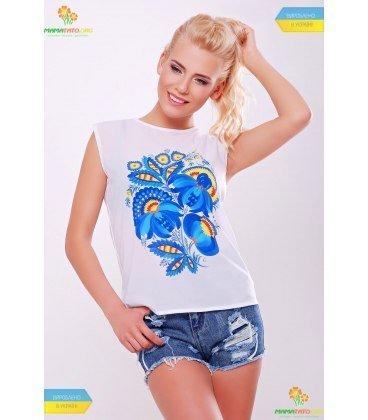 Купити стильний літній одяг ➤ блуза - футболка з принтом петриківський  розпис 7e94657d5bc0a