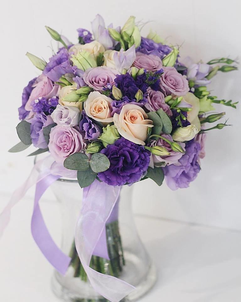 Фиолетовые свадебные букеты спб купить