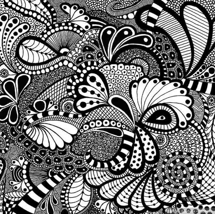 Черно белая картинка дудлинга