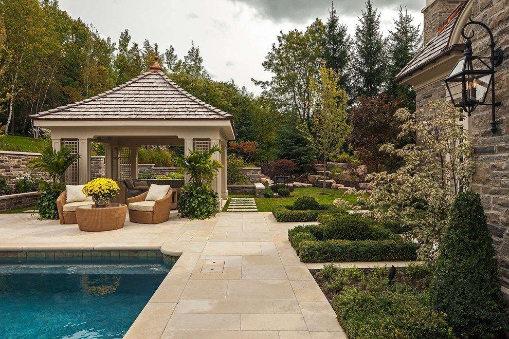 бассейн возле дома с беседкой фото колер можно использовать