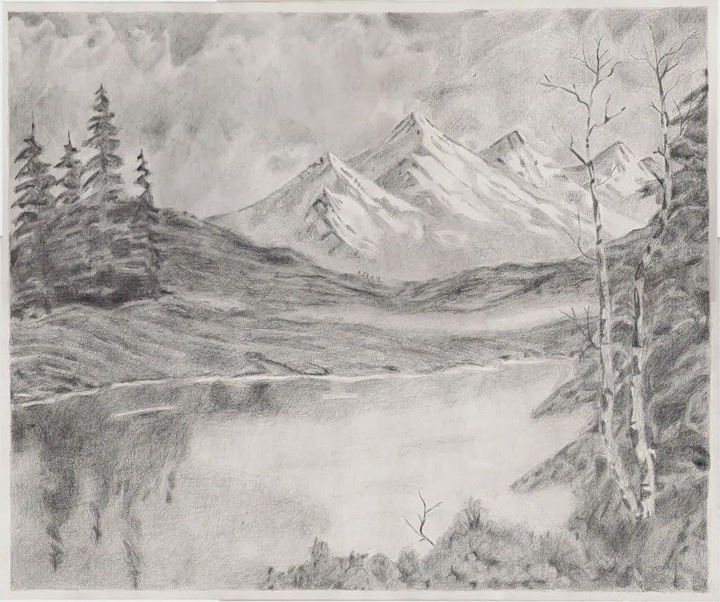 рисунок с природой карандашом центры