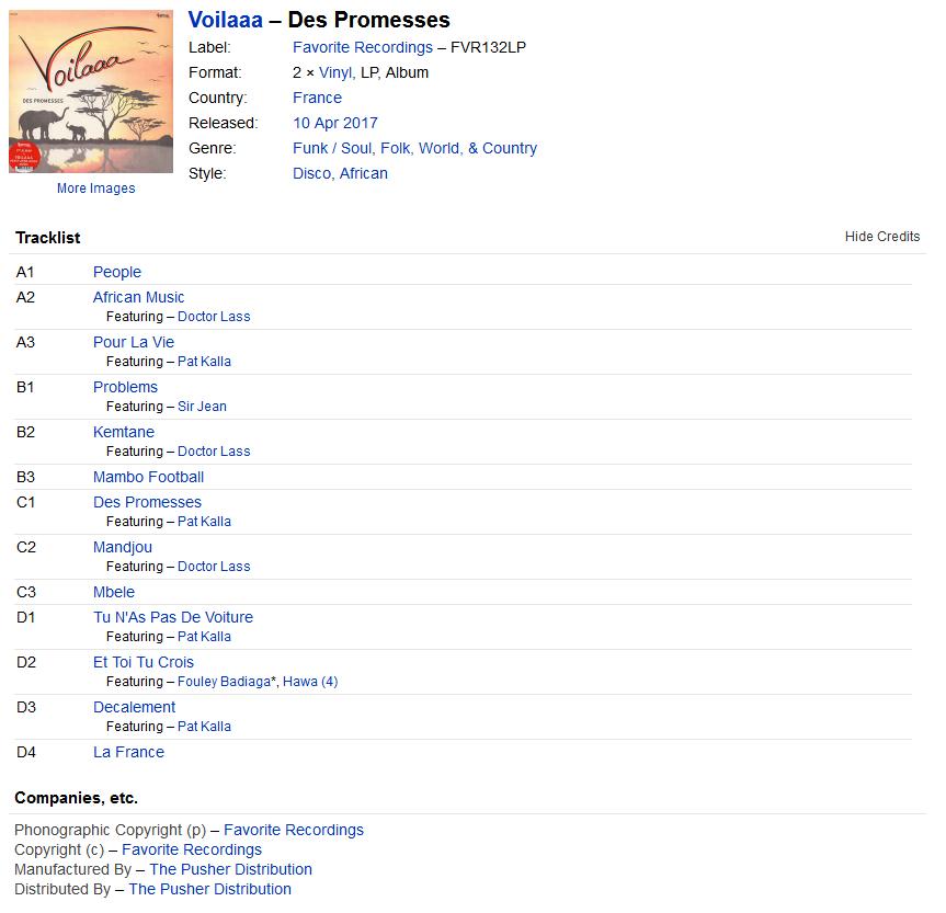 Voilaaa - Des Promesses (Vinyl, LP, Album) at Discogs S1200
